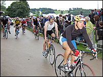 Athletes taking part in the 112-mile (180km) cycle race