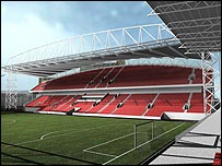An artists' impression of the proposed new stand at Tynecastle