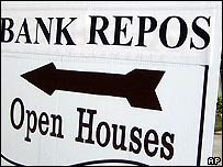 Sign advertises a repossessed home for sale in California
