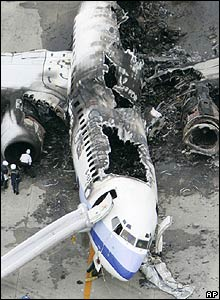 Wreckage of China Airlines plane - 20/08/07 (Pic credit: AP Photo/Kyodo News, Kazumasa Tamagami)