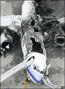 Wreckage of China Airlines plane - 20/08/07 (Pic credit: AP Photo/Kyodo News, Kazumasa Tamagami)