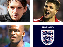 Owen Hargreaves, Steven Gerrard and Darren Bent are out of England's game against Germany