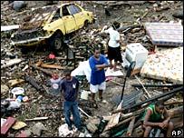 Damage left by Hurricane Dean in Bullbay, Jamaica