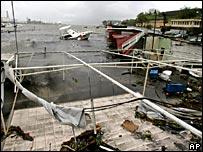 A boat sinks off Fort de France, Martinique