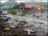 A highway littered with debris in Castries, St Lucia