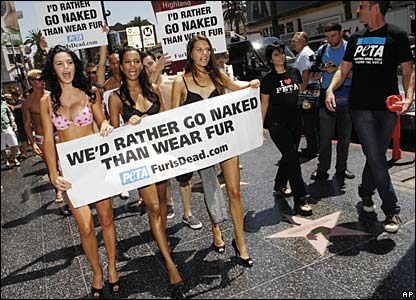 Models strip to their underwear during a demonstration against wearing fur which took place on Hollywood Boulevard, in Los Angeles.