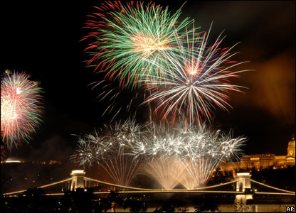 Fireworks are set off over the River Danube in Budapest
