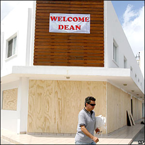 A hotel is shuttered in anticipation of Hurricane Dean's arrival in Cancun, Mexico