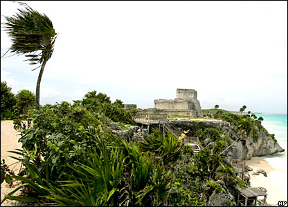 Winds gust at the ancient ruins of Tulum, Mexico