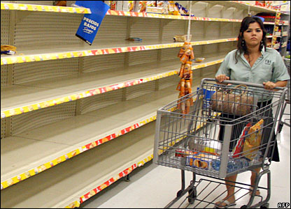 A woman stocks up on provisions in Chetumal, Mexico