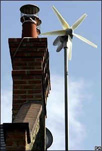 Wind turbine on house roof