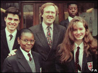 Philip Lawrence with pupils in 1995