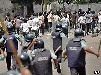 Police confronting rioting students