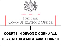 Judge's order suspending all bank overdraft claims in Devon & Cornwall