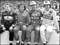 (Left to right) Ayrton Senna, Alain Prost, Nigel Mansell and Nelson Piquet