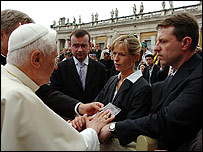 Pope Benedict XVI meeting Gerry and Kate McCann in May, 2007.