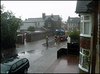 A fire engine called to flooding in Whitstable (picture by Aidan Hammond)