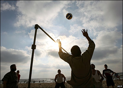 A volleyball game on Gaza beach