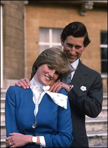 Charles, Prince of Wales laughing with his fiancee Lady Diana Spencer outside Buckingham Palace after announcing their engagement.  (Photo by Hulton Archive/