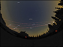 The dance of the planets above Hurricane Ridge, Olympic national park, WA, United States.