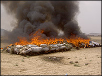 Opium being burnt in Afghanistan