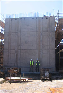 Construction of one of the concrete boxes. Picture courtesy of Comhairle nan Eilean Siar