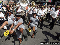 Second line parade in New Orleans