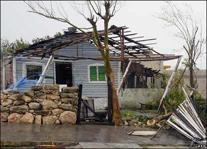A damaged house in Chetumal