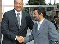 Azerbaijani President Ilham Aliyev and Iranian President Mahmoud Ahmadinejad