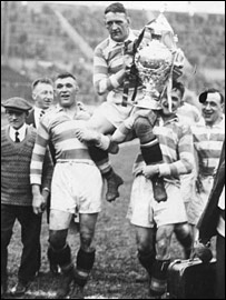 Halifax celebrate their Challenge Cup success over York in 1931