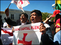 Protesters demonstrating to make Sucre the sole capital of Bolivia