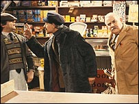 David Jason as Granville and Ronnie Barker as Arkwright deal with an awkward customer in sitcom Open All Hours