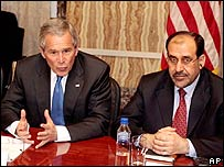 President George Bush with Iraqi PM, Nouri al-Maliki
