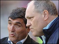 Seville coach Juande Ramos (left) and Tottenham's Martin Jol when their teams met last season in the Uefa Cup