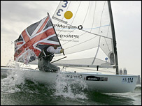 Ben Ainslie celebrates his win