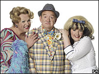 Michael Ball (left) Mel Smith and Leanne Jones (right)