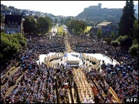 View of mass being celebrated at Lourdes, France