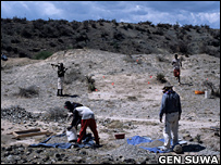 Sieving the Chororapithecus molar site. Dr Yonas Beyene (right foreground) instructing the work  Image: Gen Suwa