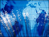 World map and fibre optic cable