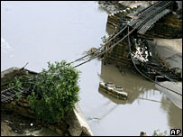 A damaged rail bridge in Minnesota