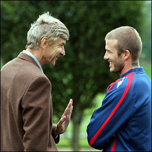 Arsene Wenger and David Beckham at Arsenal's training ground