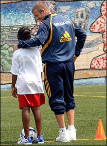David Beckham at a soccer clinic in New York