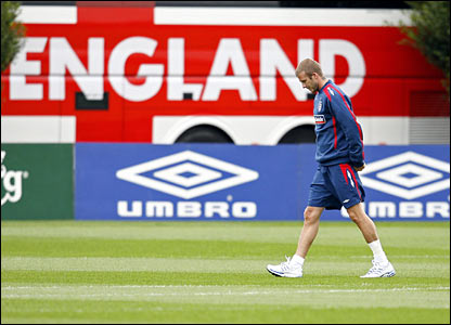 David Beckham in training at Arsenal's London Colney ground