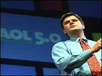 Steve Case, head of AOL, as merger with Time Warner is announced