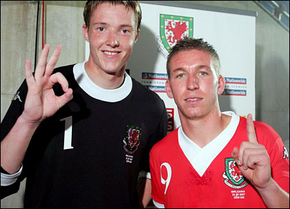 Wayne Hennessy and Freddie Eastwood after Wales' win