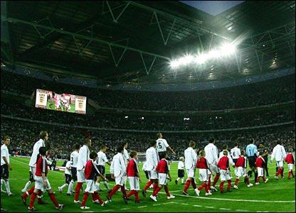 The teams emerge at Wembley