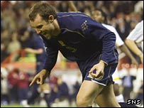 Scotland substitute Kris Boyd celebrates after scoring the winning goal