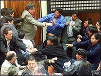 Trifulca en C�mara de Diputados de Bolivia