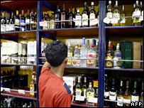 A shop selling alcohol in Indian capital, Delhi