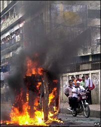 A military vehicle on fire in Dhaka, Bangladesh